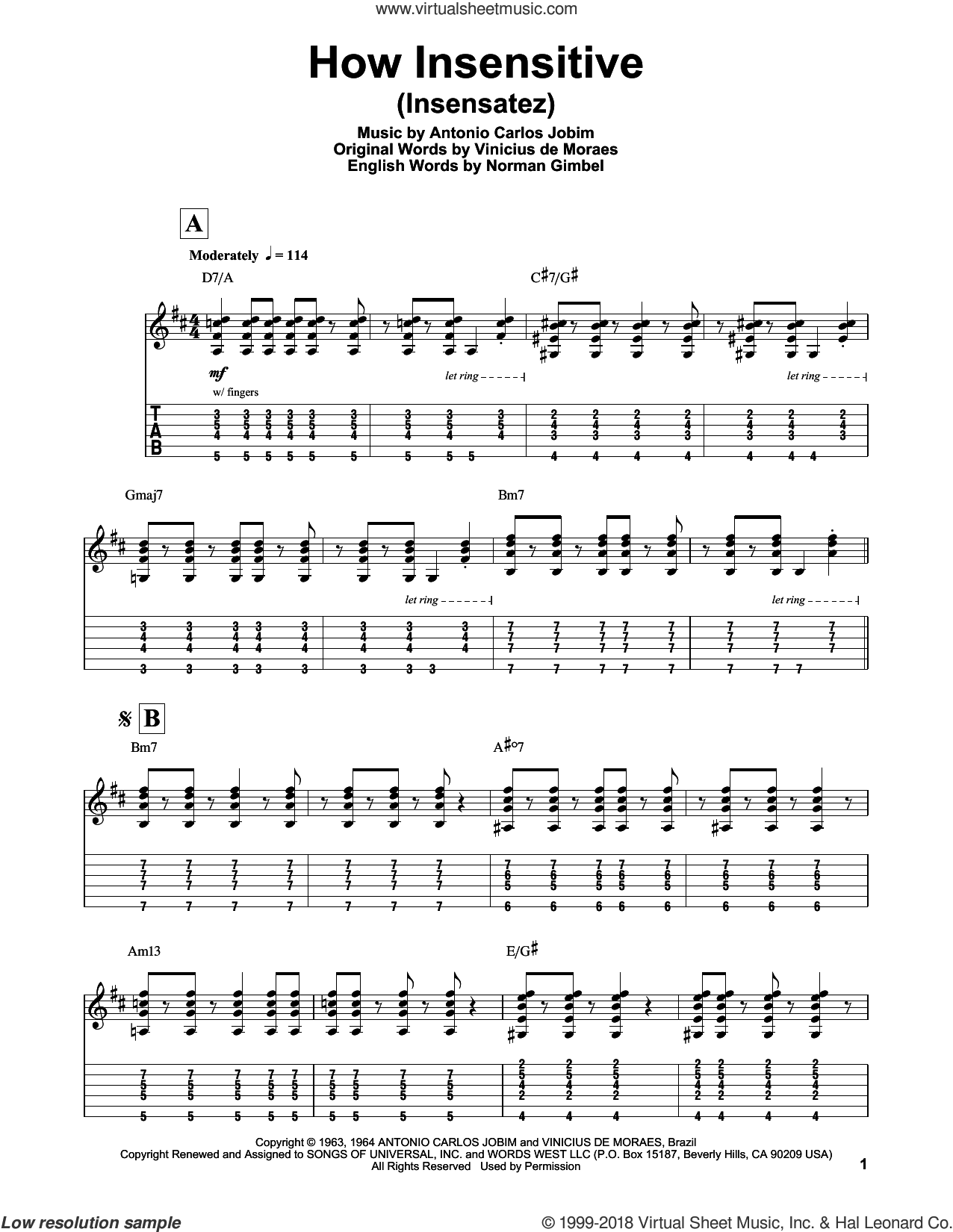 How Insensitive (Insensatez) sheet music for guitar (tablature, play-along) by Norman Gimbel, Astrud Gilberto, Antonio Carlos Jobim and Vinicius de Moraes, intermediate. Score Image Preview.