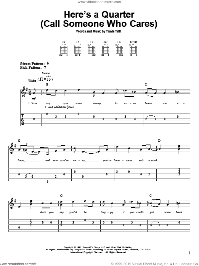 Here's A Quarter (Call Someone Who Cares) sheet music for guitar solo (easy tablature) by Travis Tritt, easy guitar (easy tablature)