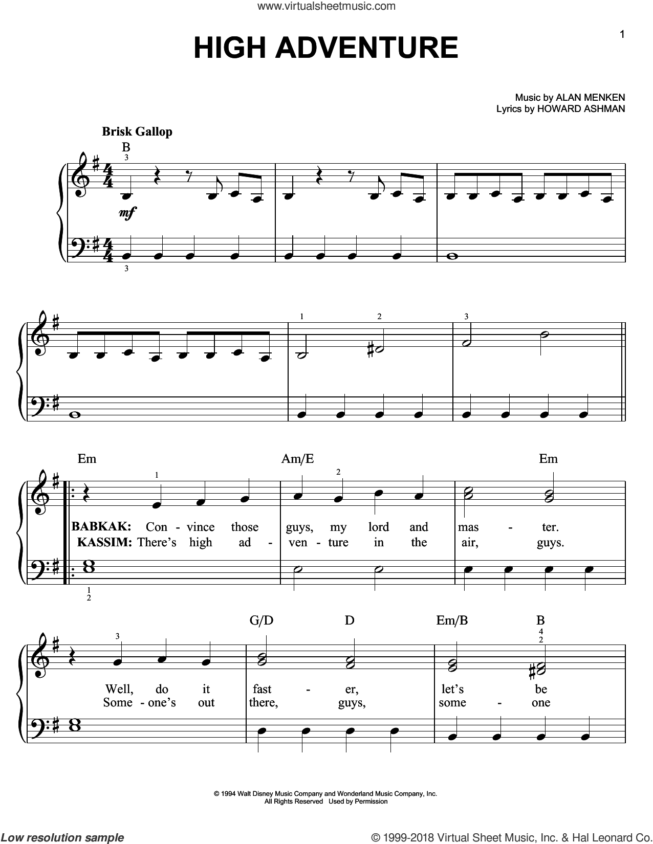 High Adventure sheet music for piano solo by Alan Menken and Howard Ashman, easy. Score Image Preview.