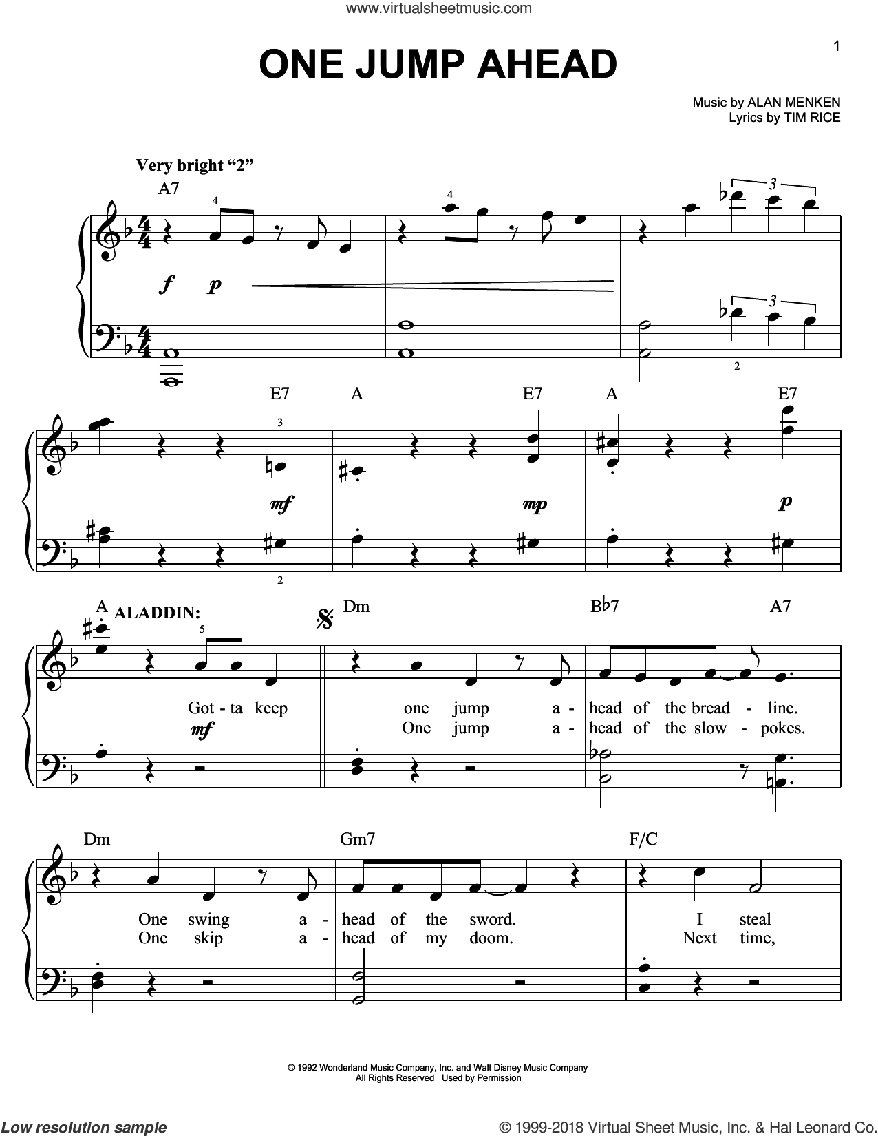 One Jump Ahead sheet music for piano solo by Alan Menken and Tim Rice. Score Image Preview.