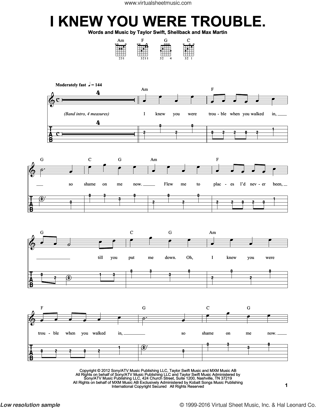 I Knew You Were Trouble sheet music for guitar solo (easy tablature) by Shellback, Max Martin and Taylor Swift. Score Image Preview.