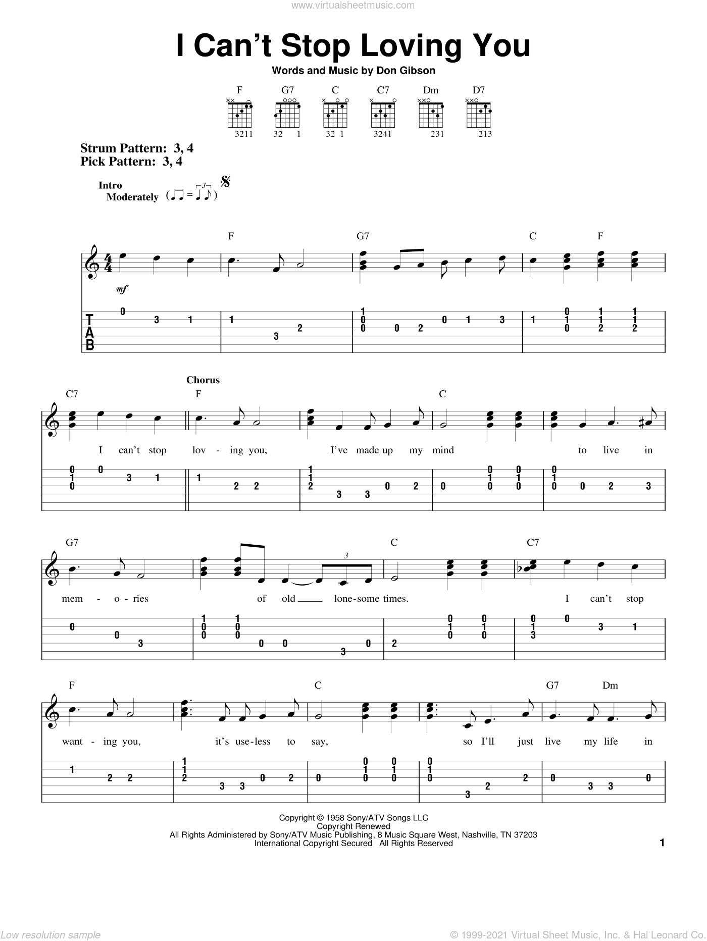 I Can't Stop Loving You sheet music for guitar solo (easy tablature) by Don Gibson. Score Image Preview.