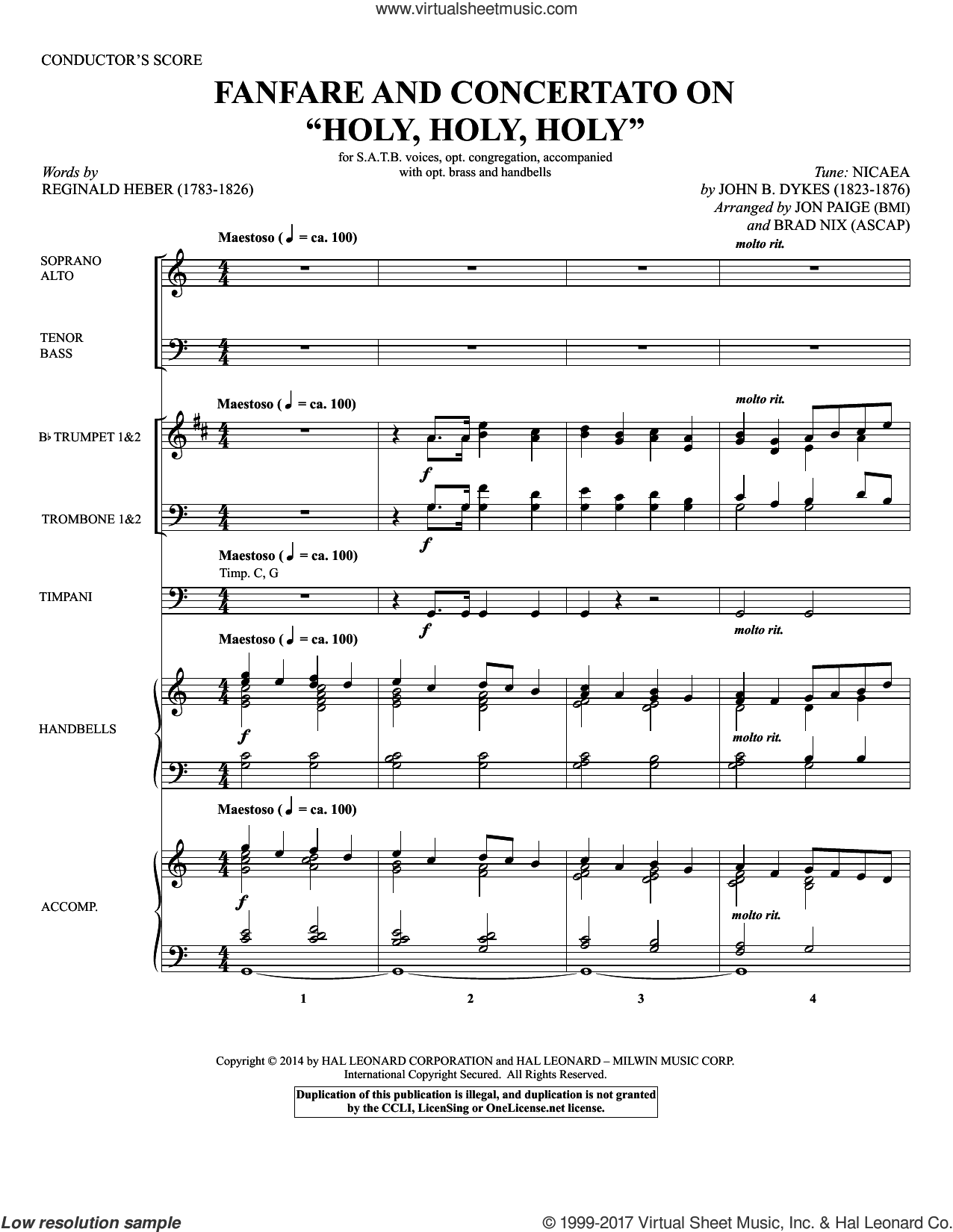 Fanfare and Concertato on 'Holy, Holy, Holy' (COMPLETE) sheet music for orchestra/band by Brad Nix, John Bacchus Dykes, Jon Paige and Reginald Heber, intermediate skill level