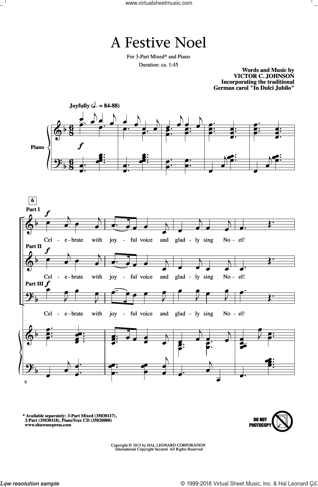 A Festive Noel sheet music for choir (3-Part Mixed) by Victor Johnson, intermediate skill level