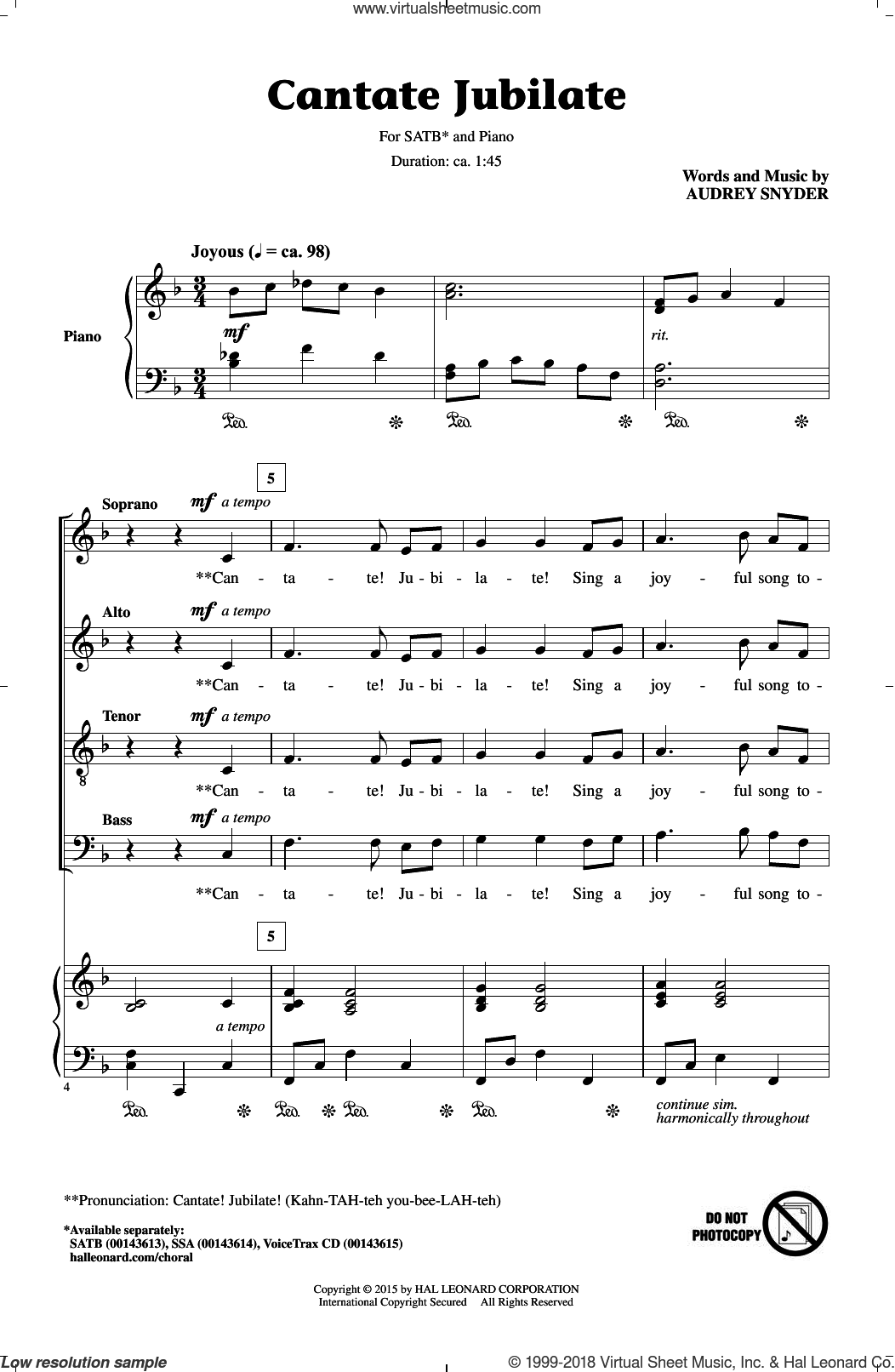 Cantate Jubilate sheet music for choir (SATB) by Audrey Snyder, intermediate choir (SATB). Score Image Preview.
