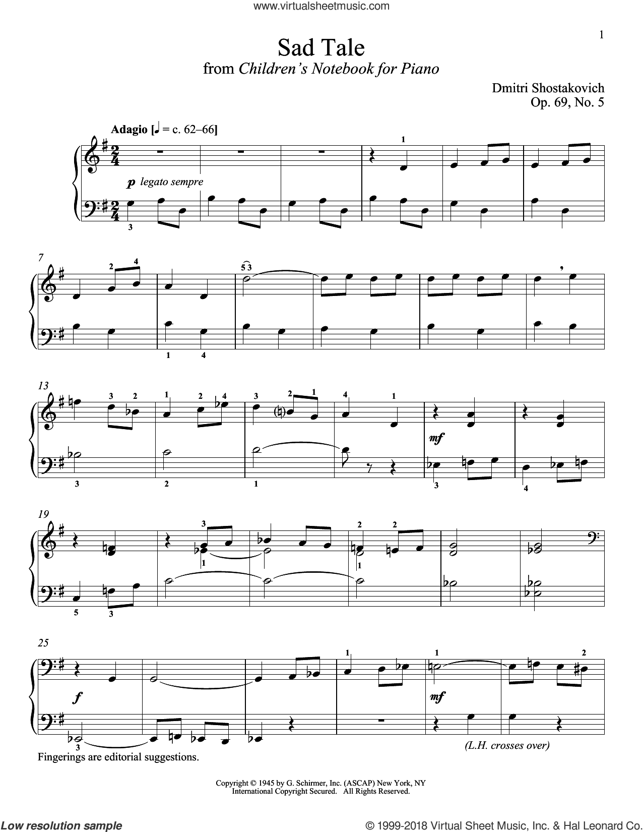 Sad Tale sheet music for piano solo by Dmitri Shostakovich and Richard Walters, classical score, intermediate skill level