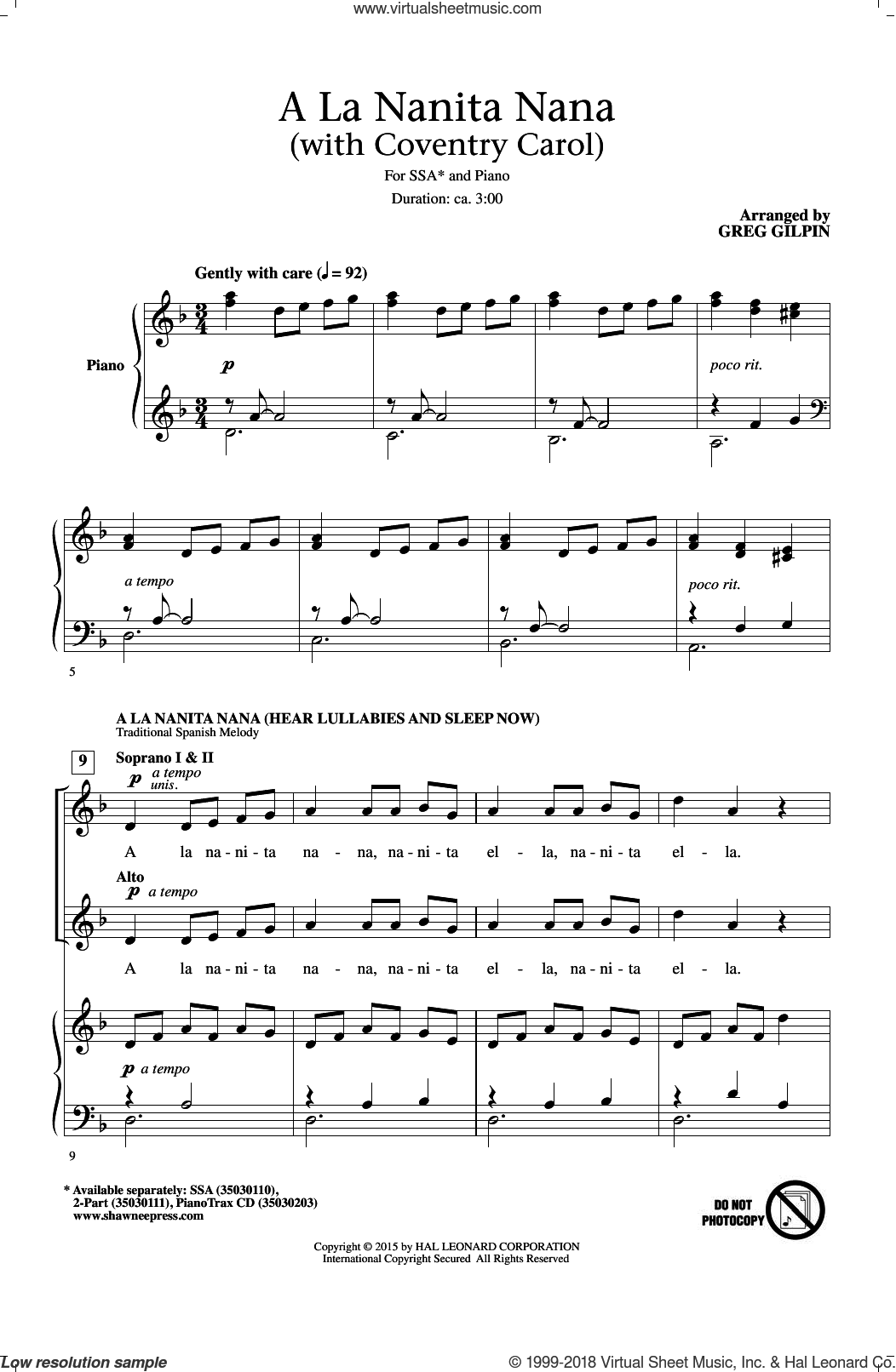 A La Nanita Nana (Hear Lullabies And Sleep Now) sheet music for choir and piano (SSA) by Greg Gilpin. Score Image Preview.