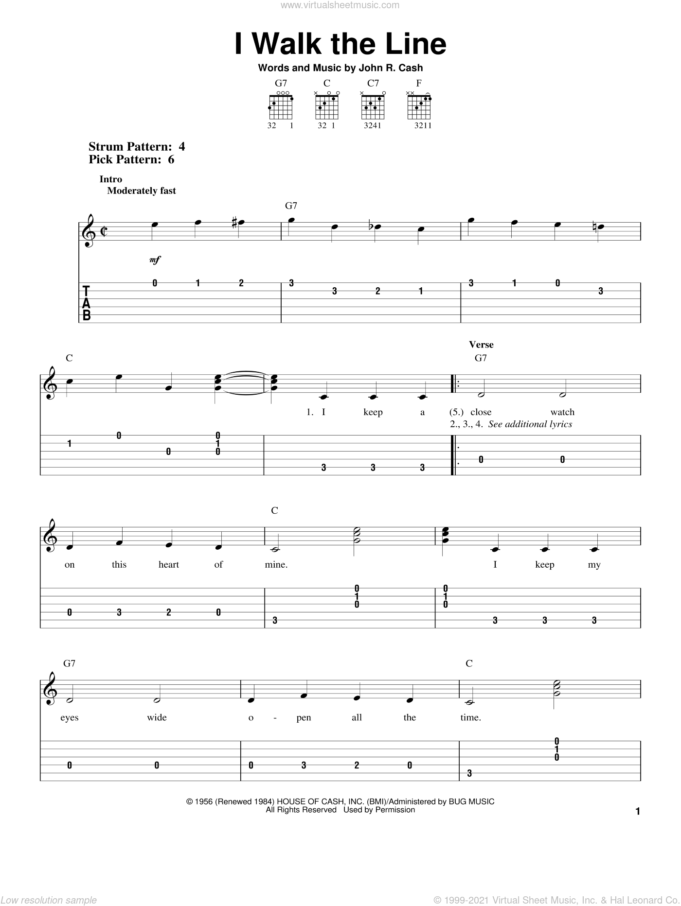 I Walk The Line sheet music for guitar solo (easy tablature) by Johnny Cash, easy guitar (easy tablature)