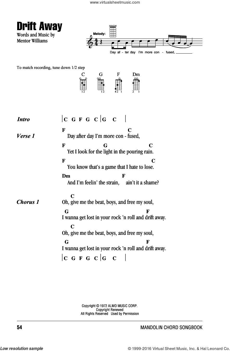 Drift Away sheet music for mandolin (chords only) by Mentor Williams and Dobie Gray. Score Image Preview.
