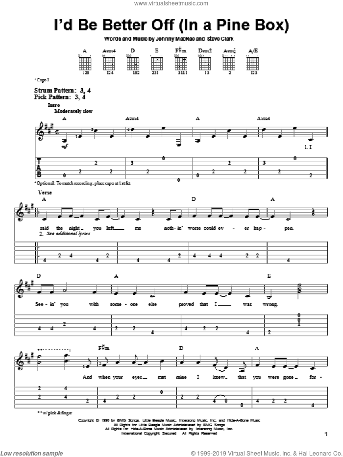 I'd Be Better Off (In A Pine Box) sheet music for guitar solo (easy tablature) by Doug Stone, Johnny MacRae and Steve Clark, easy guitar (easy tablature)
