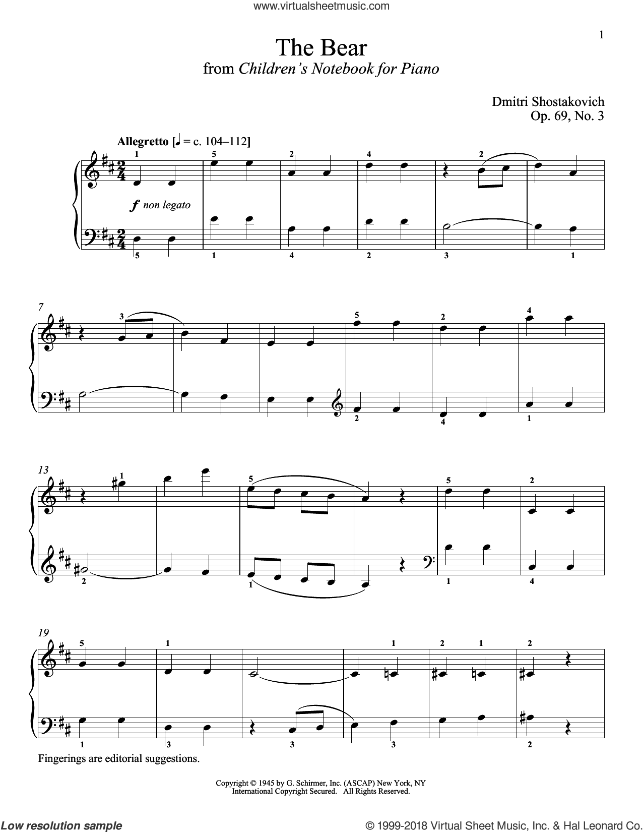 The Bear sheet music for piano solo by Dmitri Shostakovich and Richard Walters, classical score, intermediate. Score Image Preview.