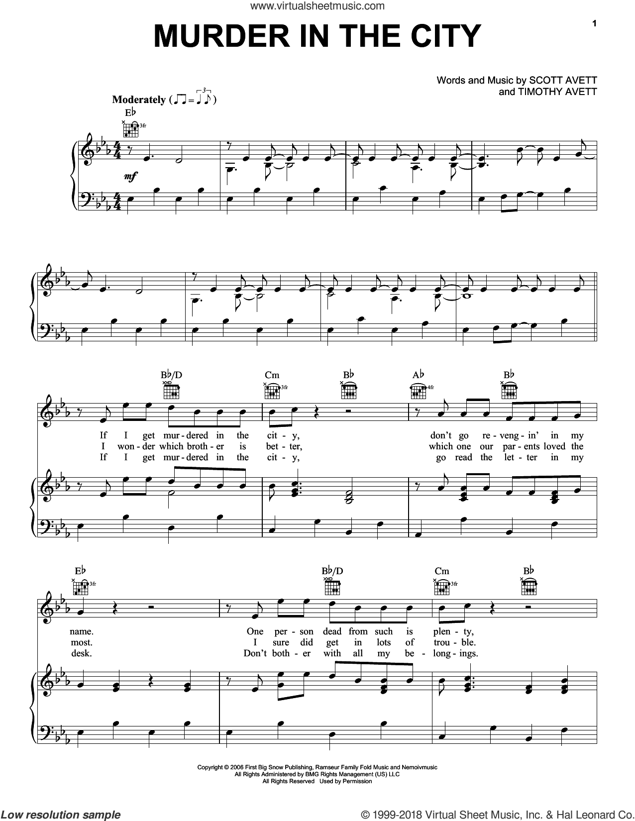 Murder In The City sheet music for voice, piano or guitar by The Avett Brothers, Avett Brothers, Scott Avett and Timothy Avett, intermediate skill level