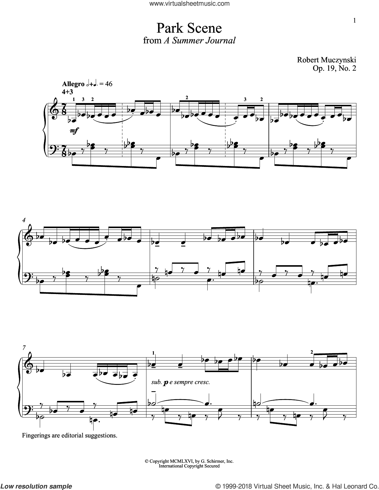 Park Scene sheet music for piano solo by Robert Muczynski and Richard Walters. Score Image Preview.