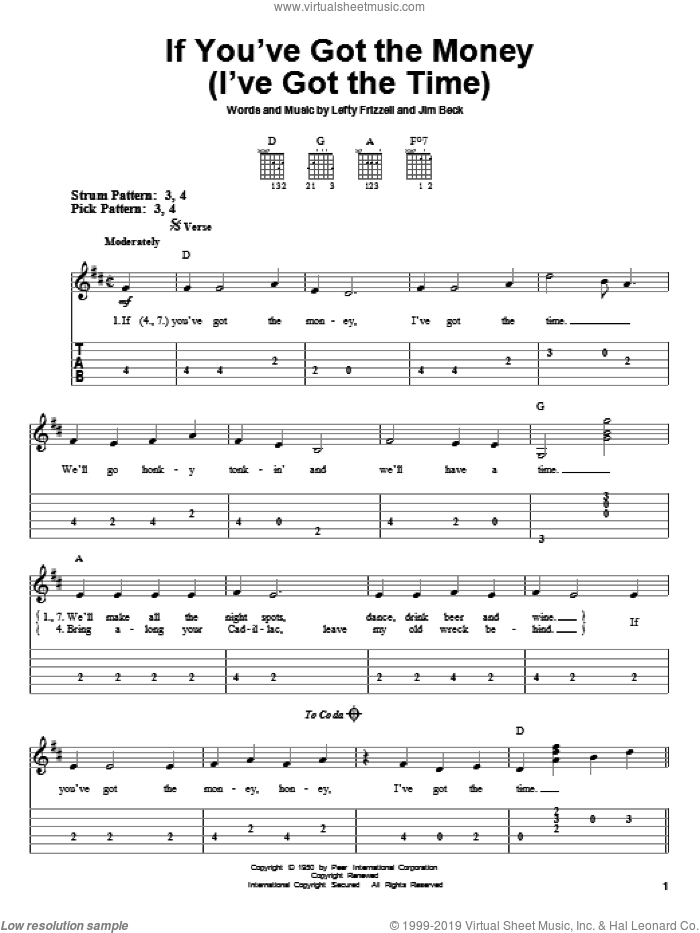 If You've Got The Money (I've Got The Time) sheet music for guitar solo (easy tablature) by Lefty Frizzell, Willie Nelson and Jim Beck, easy guitar (easy tablature)