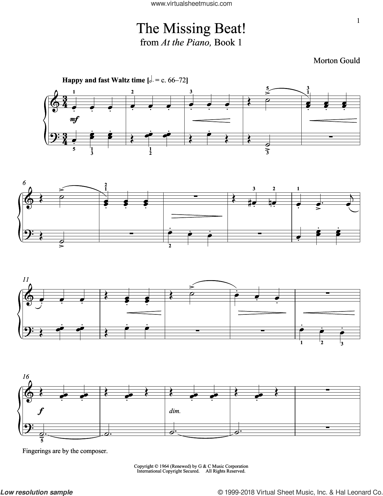 The Missing Beat sheet music for piano solo by Morton Gould and Richard Walters. Score Image Preview.