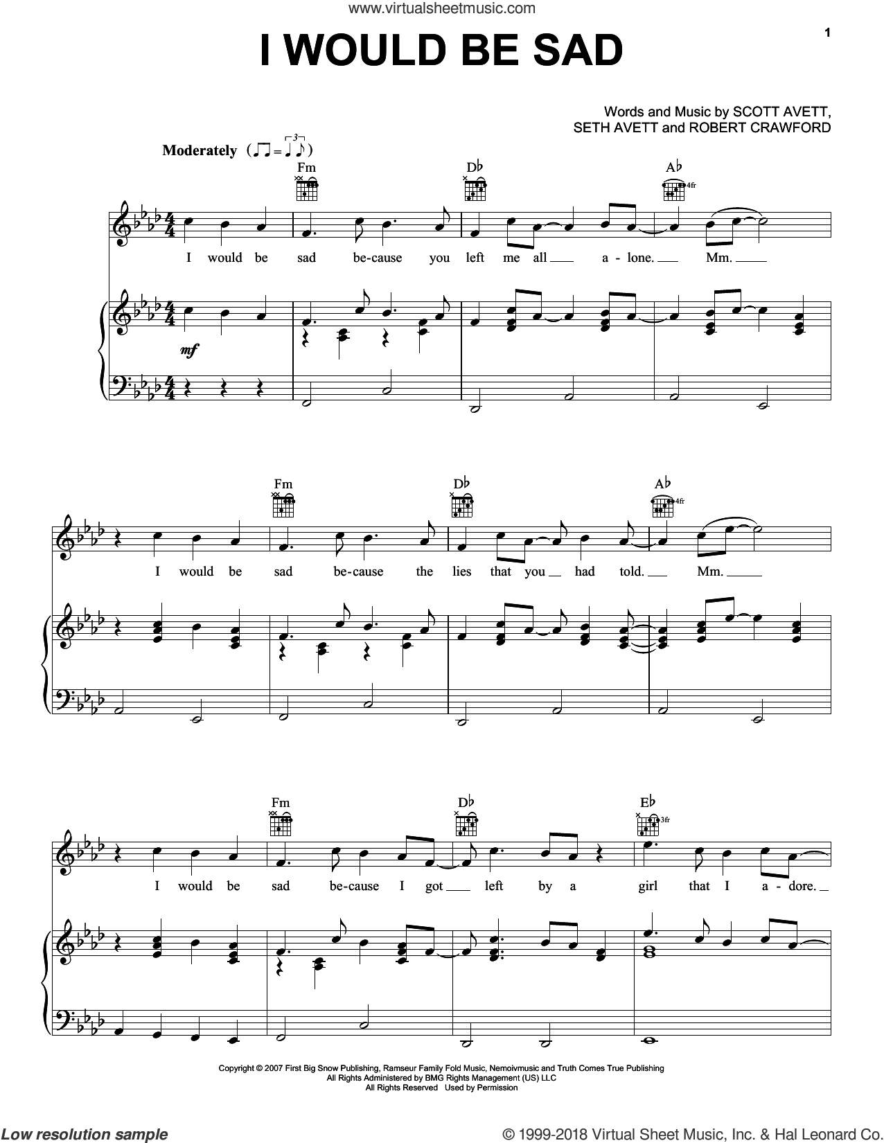 I Would Be Sad sheet music for voice, piano or guitar by The Avett Brothers, Avett Brothers, Robert Crawford, Scott Avett and Seth Avett, intermediate skill level