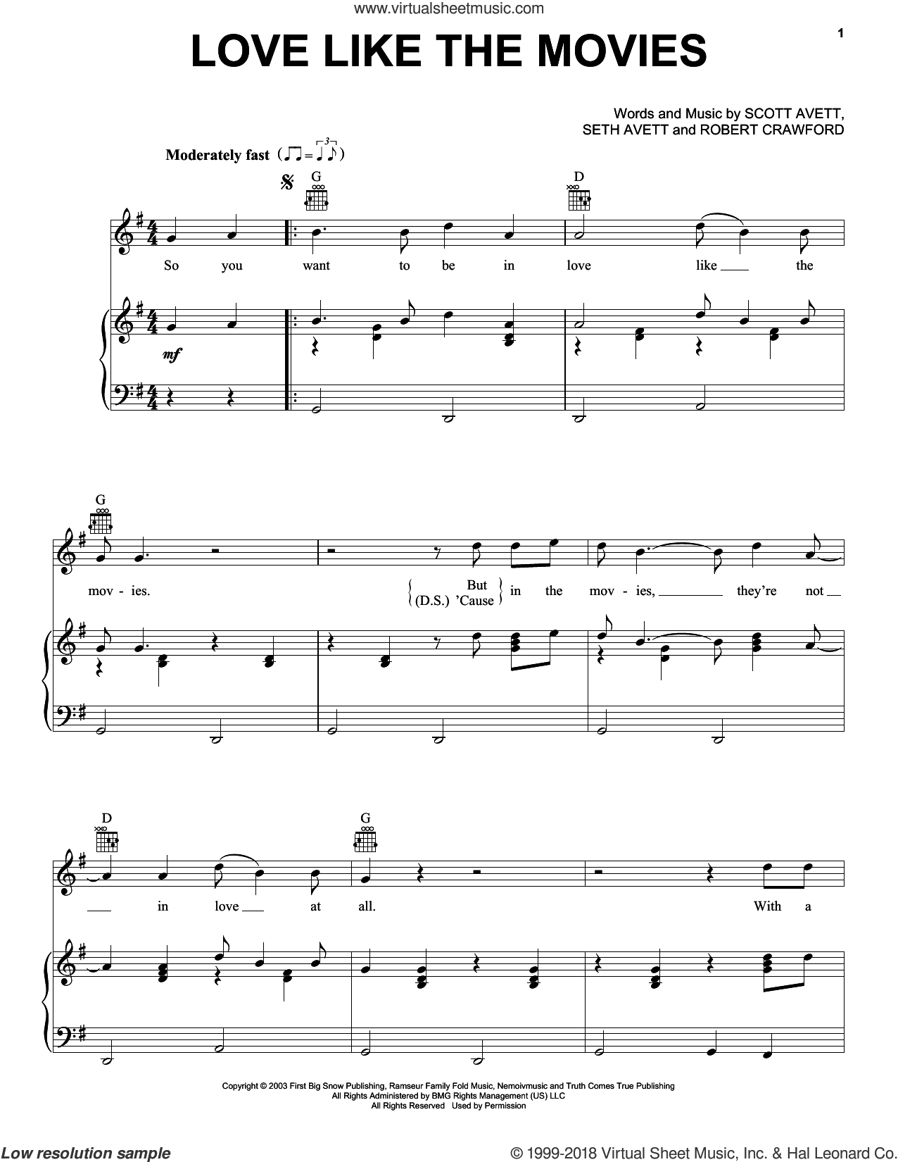 Love Like The Movies sheet music for voice, piano or guitar by The Avett Brothers, Avett Brothers, Robert Crawford, Scott Avett and Seth Avett, intermediate skill level