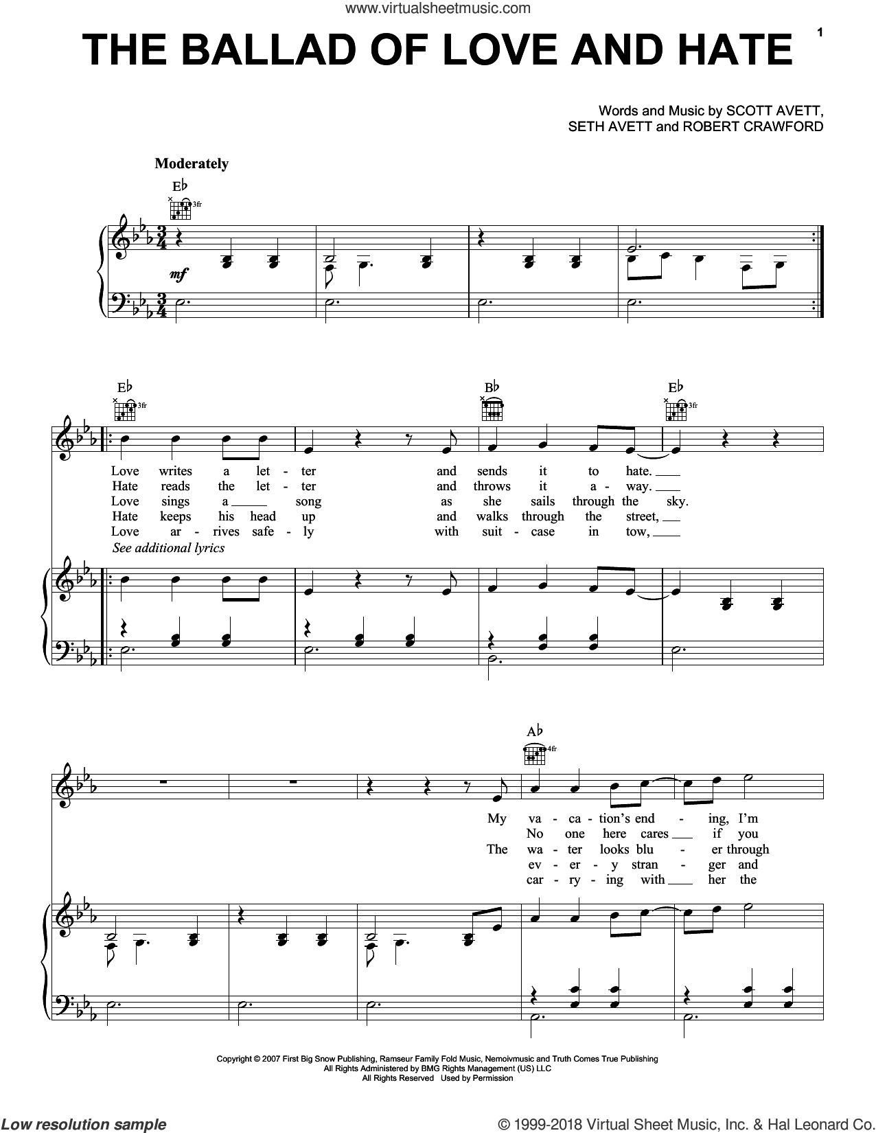 The Ballad Of Love And Hate sheet music for voice, piano or guitar by The Avett Brothers, Avett Brothers, Robert Crawford, Scott Avett and Seth Avett, intermediate skill level