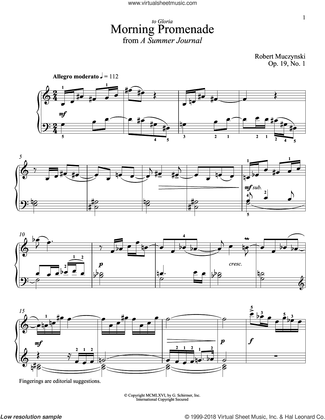 Morning Promenade sheet music for piano solo by Robert Muczynski and Richard Walters, classical score, intermediate skill level