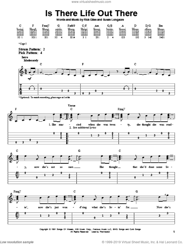 Is There Life Out There sheet music for guitar solo (easy tablature) by Reba McEntire, Rick Giles and Susan Longacre, easy guitar (easy tablature). Score Image Preview.