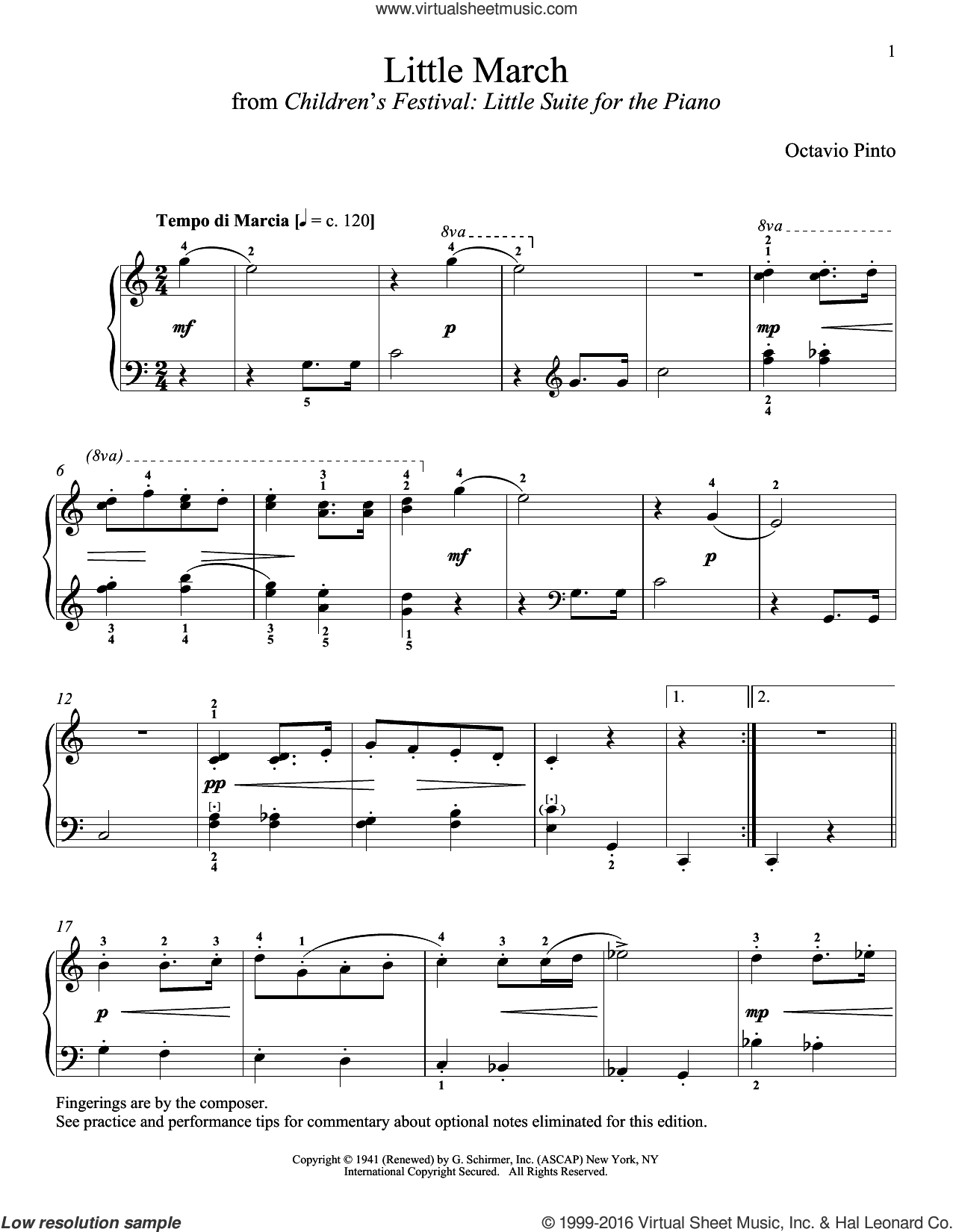 Little March sheet music for piano solo by Octavio Pinto and Richard Walters, classical score, intermediate skill level