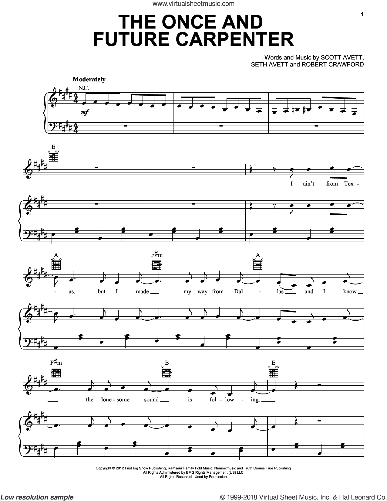 The Once And Future Carpenter sheet music for voice, piano or guitar by The Avett Brothers, Avett Brothers, Robert Crawford, Scott Avett and Seth Avett, intermediate skill level