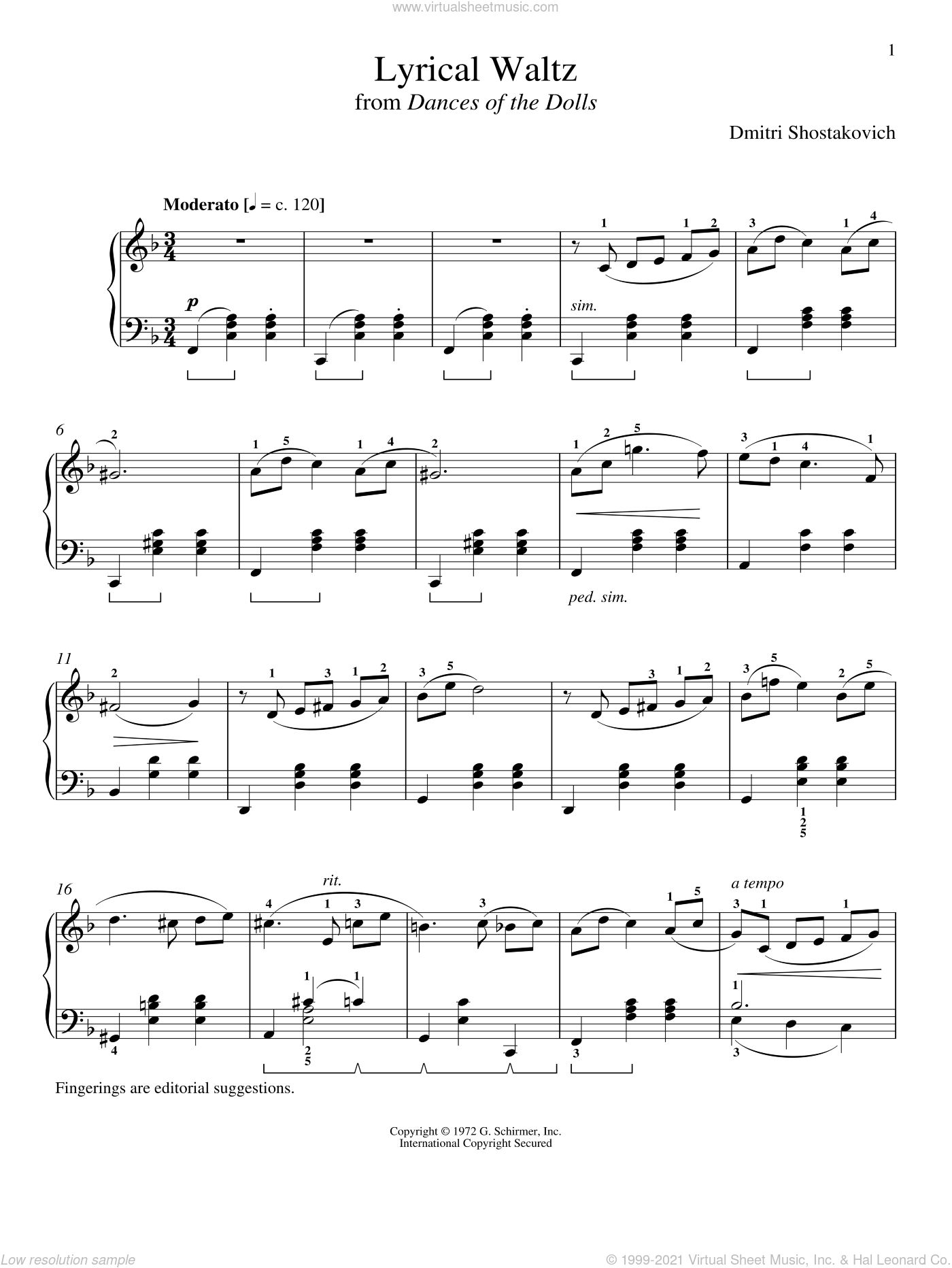 Lyrical Waltz sheet music for piano solo by Dmitri Shostakovich and Richard Walters, classical score, intermediate skill level