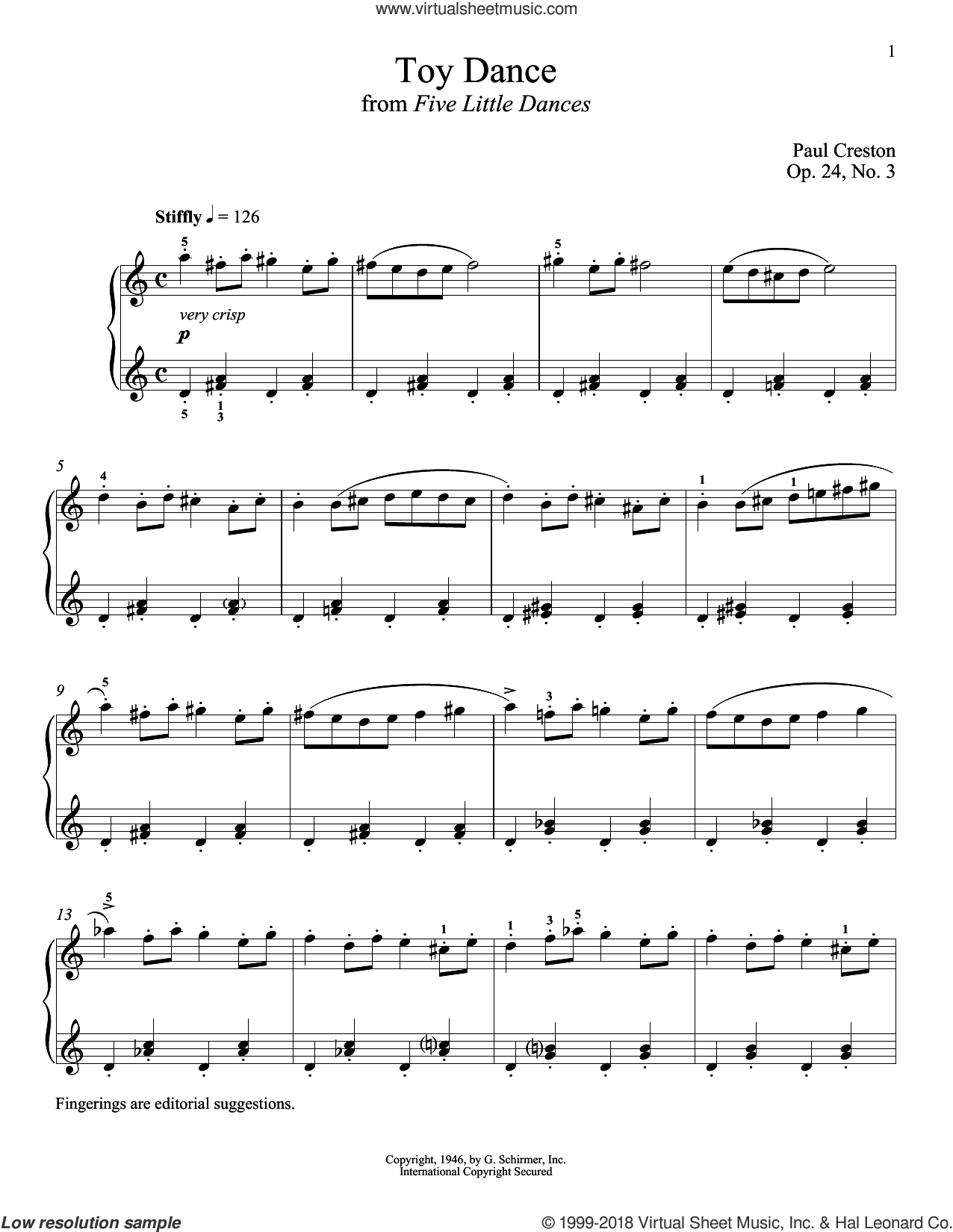 Toy Dance sheet music for piano solo by Paul Creston and Richard Walters, classical score, intermediate skill level