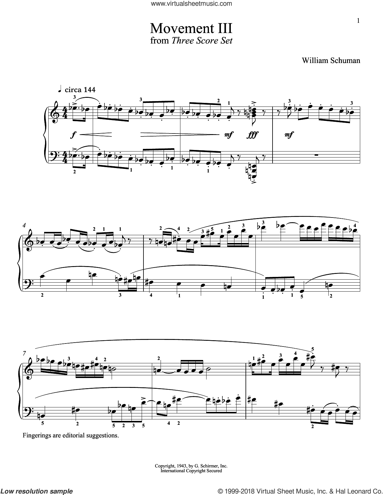 Movement III sheet music for piano solo by William Schuman and Richard Walters, classical score, intermediate skill level