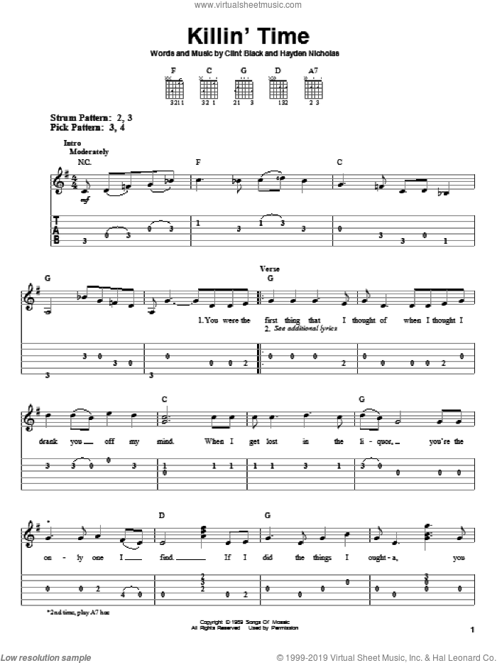 Killin' Time sheet music for guitar solo (easy tablature) by James Hayden Nicholas and Clint Black. Score Image Preview.