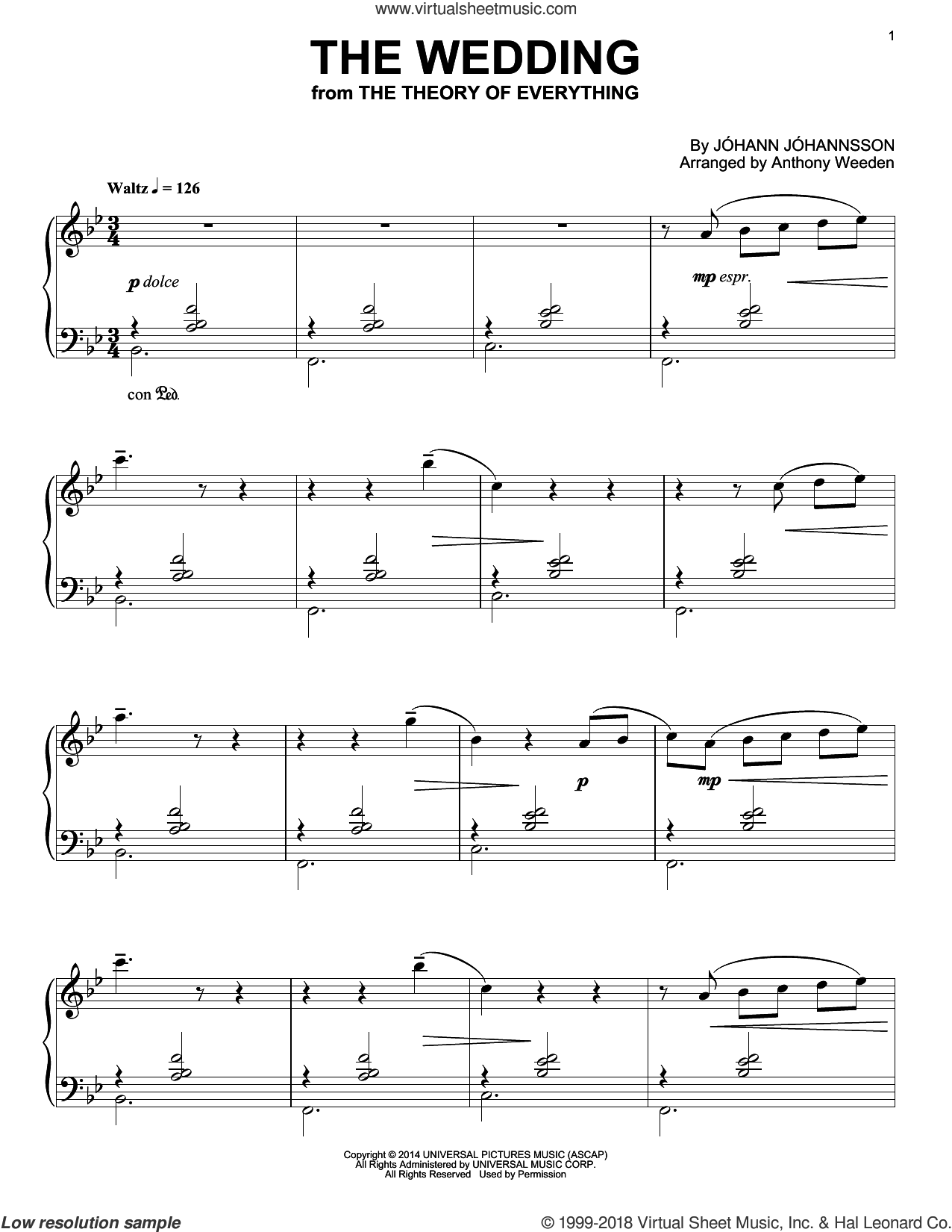The Wedding sheet music for piano solo by Johann Johannsson, intermediate skill level