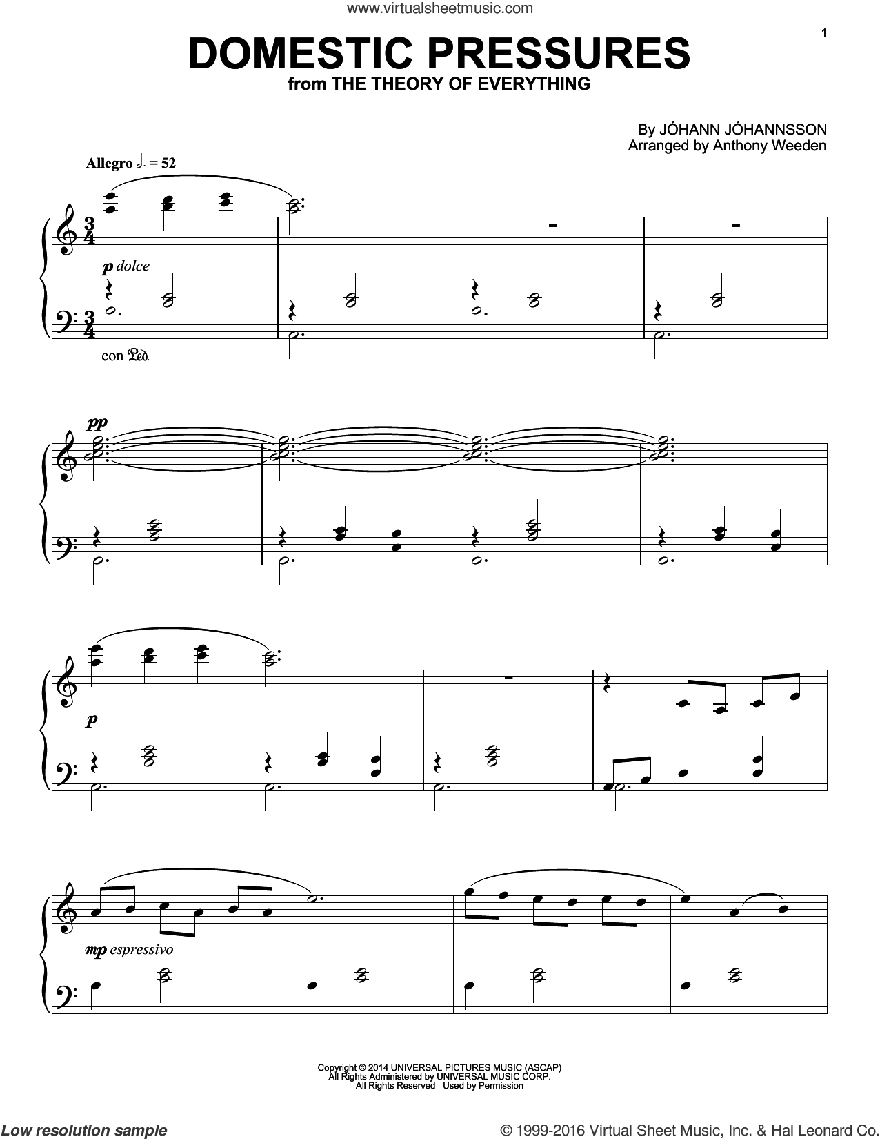 Domestic Pressures sheet music for piano solo by Johann Johannsson, intermediate. Score Image Preview.