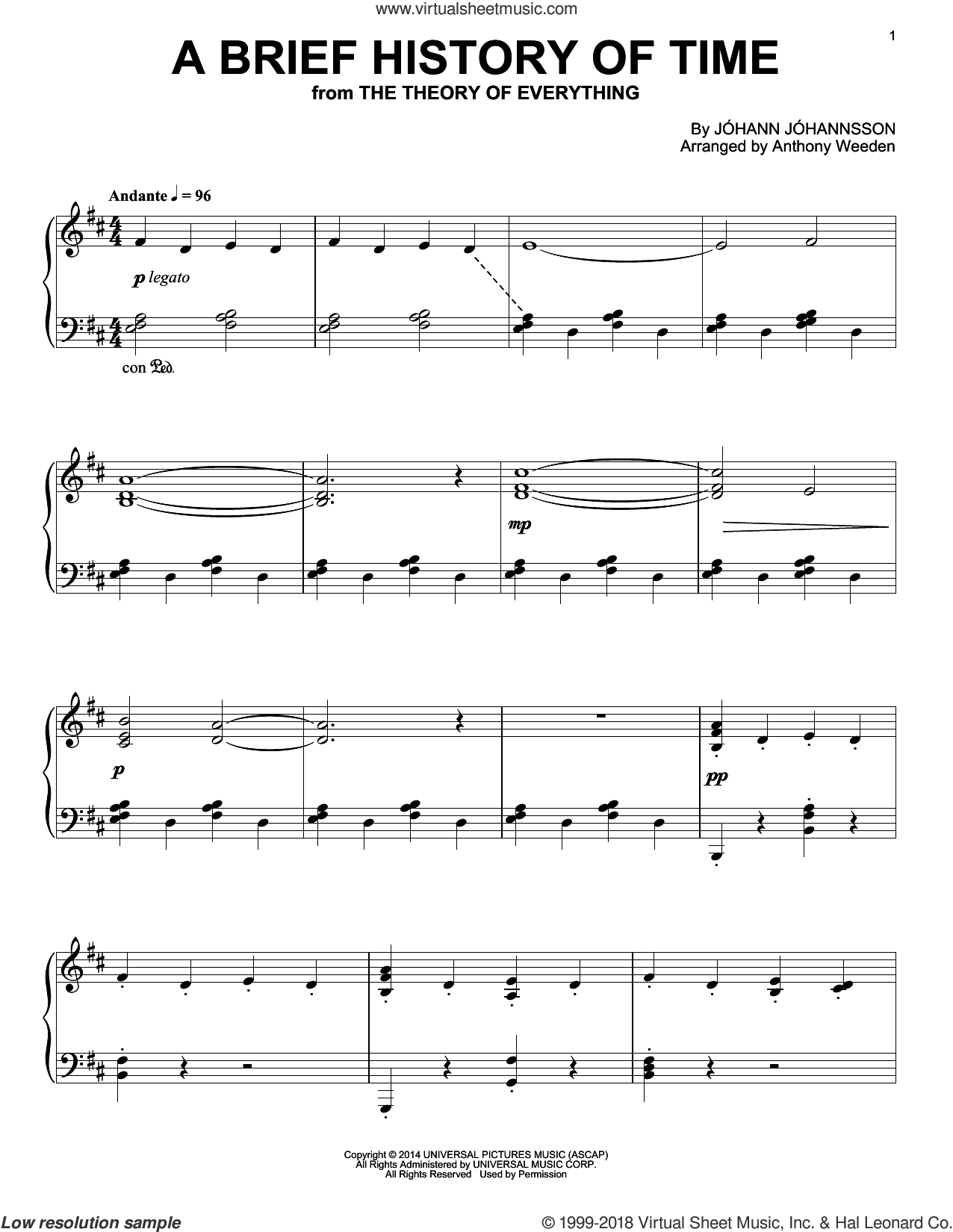 A Brief History Of Time sheet music for piano solo by Johann Johannsson, intermediate skill level
