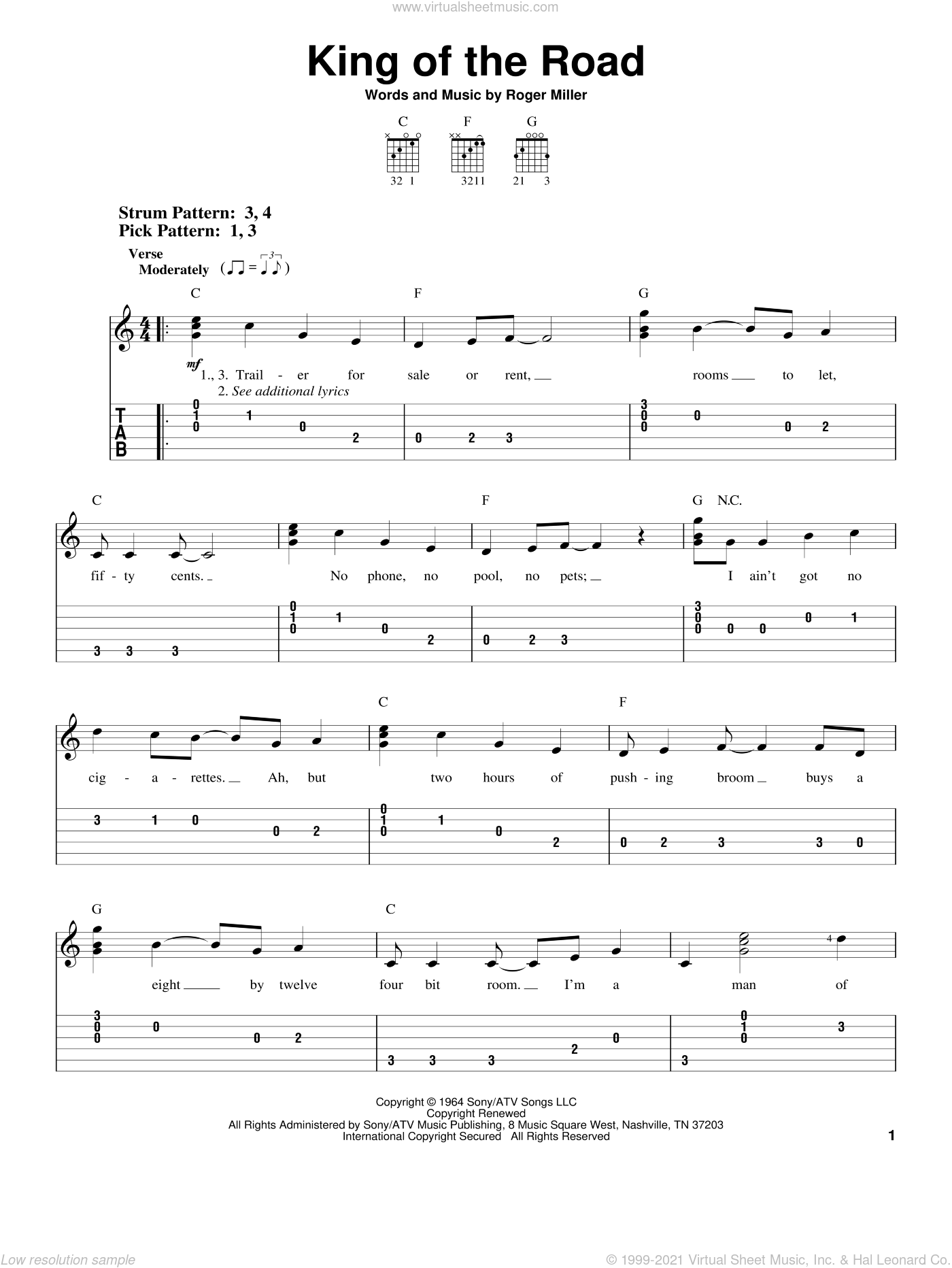 King Of The Road sheet music for guitar solo (easy tablature) by Roger Miller, easy guitar (easy tablature)