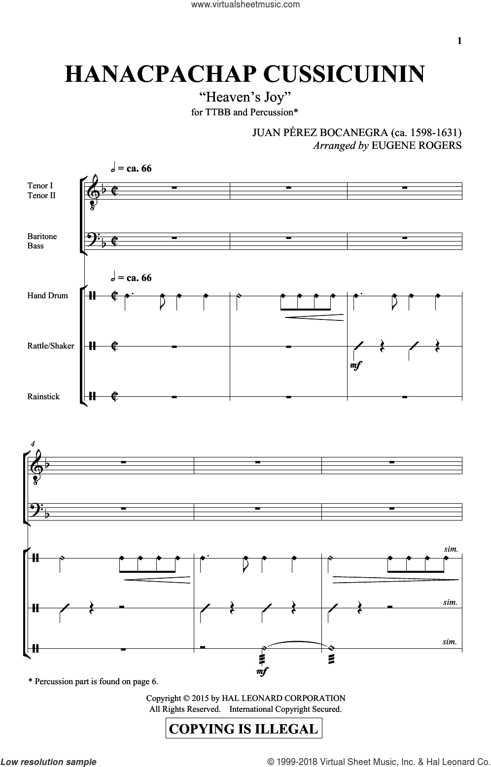 Hanacpachap Cussicuinin sheet music for choir (Percussion) by E Rogers, intermediate