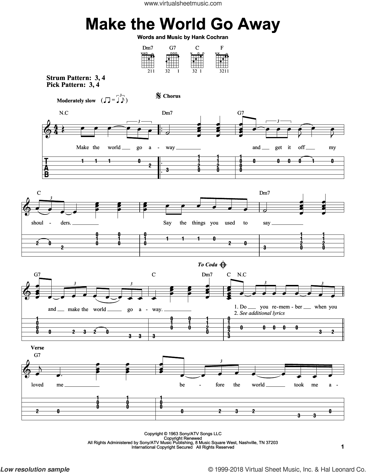 Make The World Go Away sheet music for guitar solo (easy tablature) by Hank Cochran, Eddy Arnold, Elvis Presley and Ray Price. Score Image Preview.
