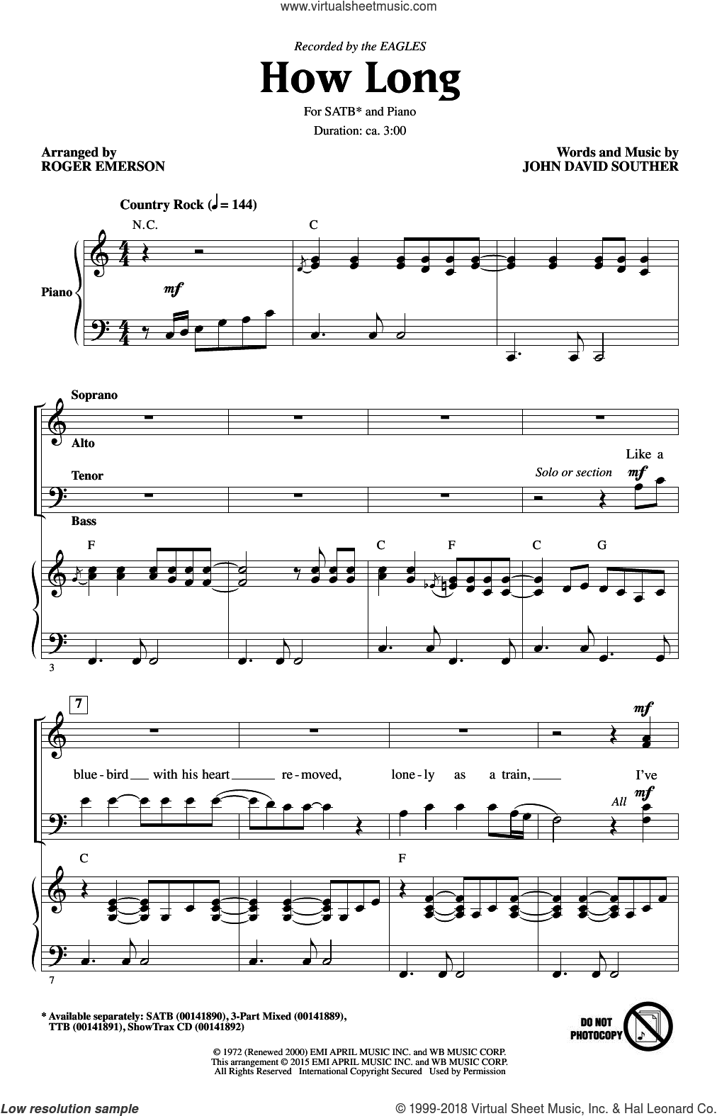 How Long sheet music for choir (SATB: soprano, alto, tenor, bass) by John David Souther, Roger Emerson and The Eagles, intermediate skill level