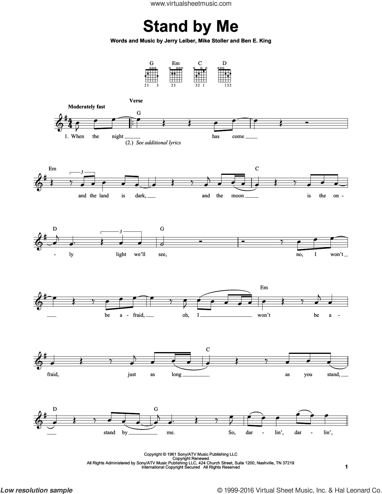 Stand By Me sheet music for guitar solo (chords) by Ben E. King, Mickey Gilley and Mike Stoller. Score Image Preview.