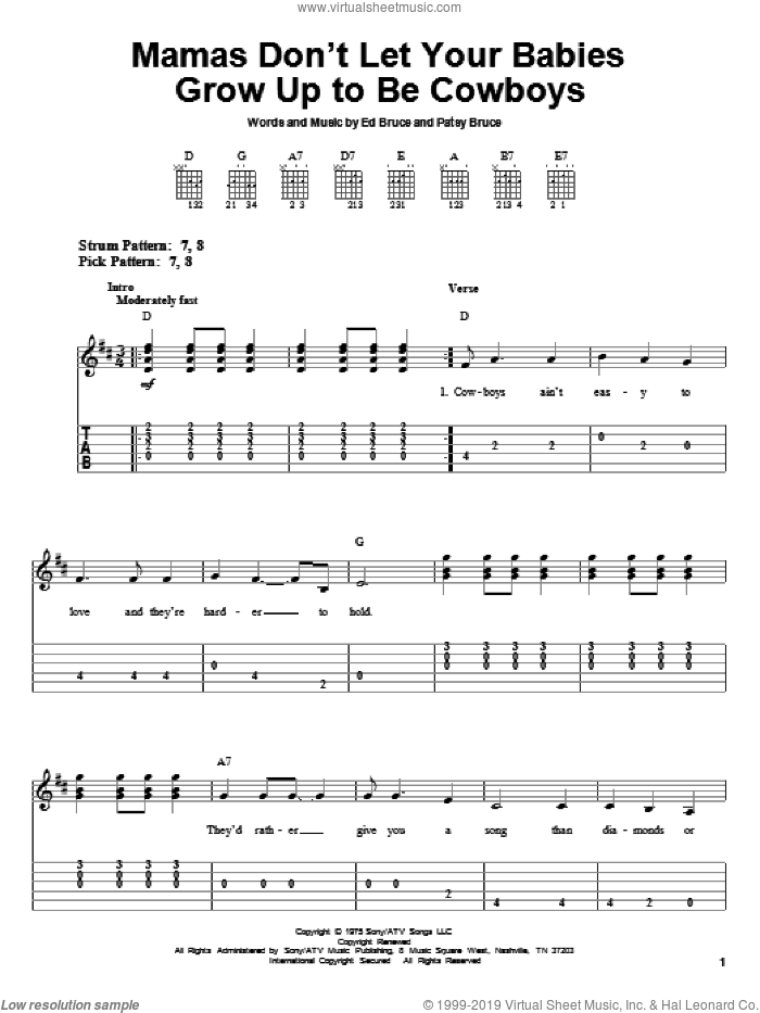 Mammas Don't Let Your Babies Grow Up To Be Cowboys sheet music for guitar solo (easy tablature) by Patsy Bruce, Waylon Jennings and Willie Nelson. Score Image Preview.