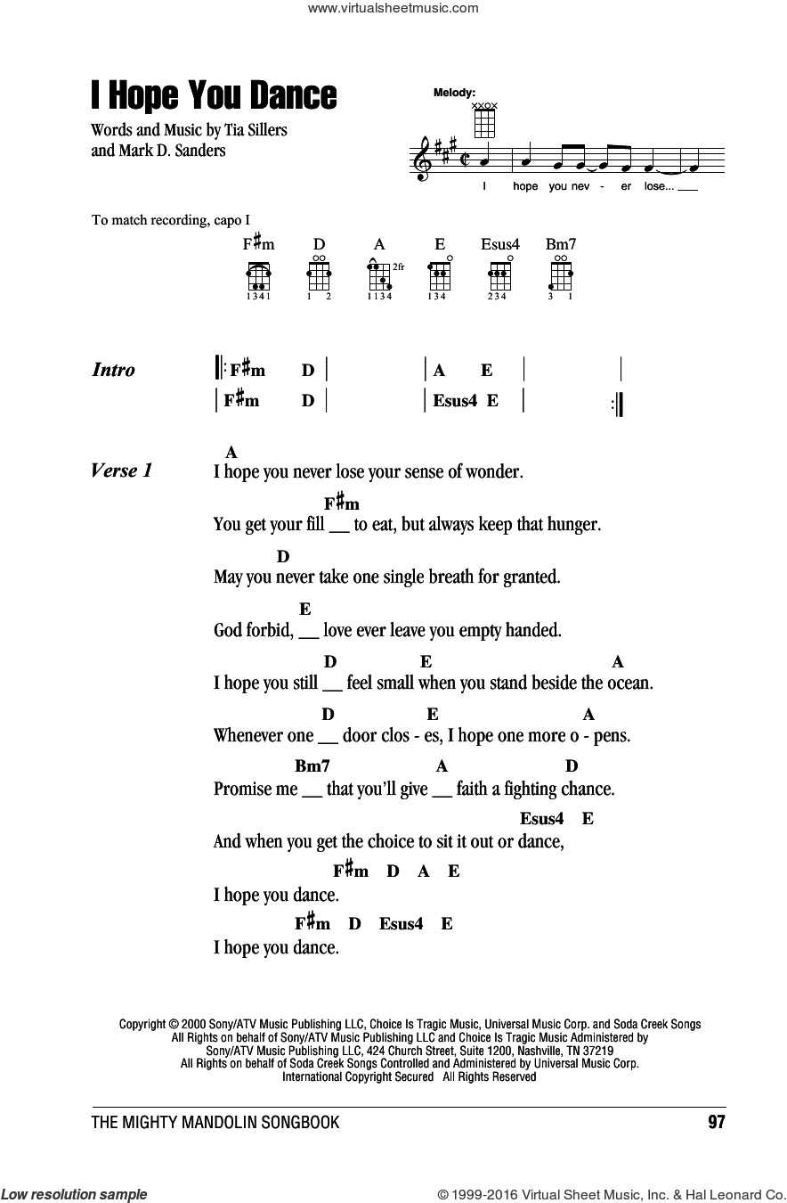 I Hope You Dance sheet music for mandolin (chords only) by Lee Ann Womack with Sons of the Desert, Mark D. Sanders and Tia Sillers, intermediate skill level