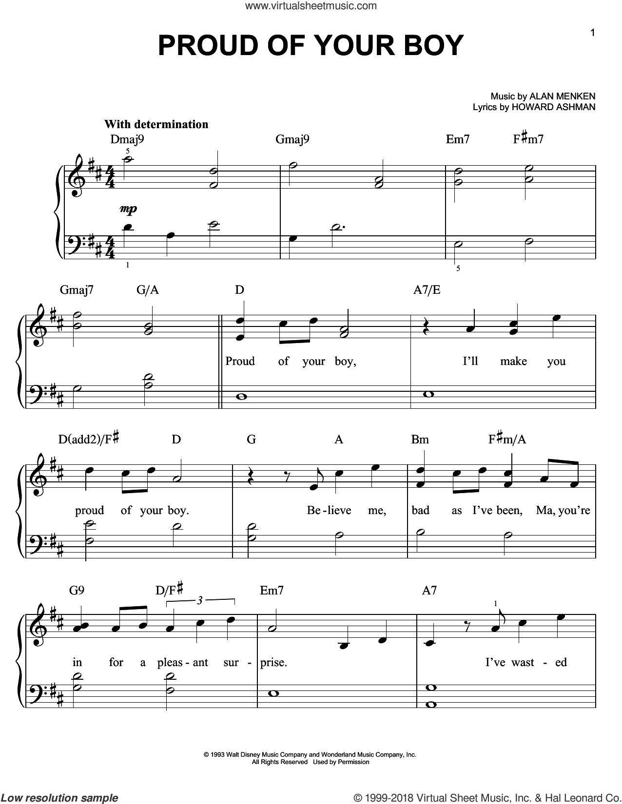Proud Of Your Boy sheet music for piano solo by Alan Menken and Howard Ashman, easy skill level