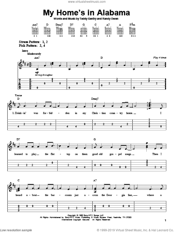 My Home's In Alabama sheet music for guitar solo (easy tablature) by Alabama and Randy Owen. Score Image Preview.