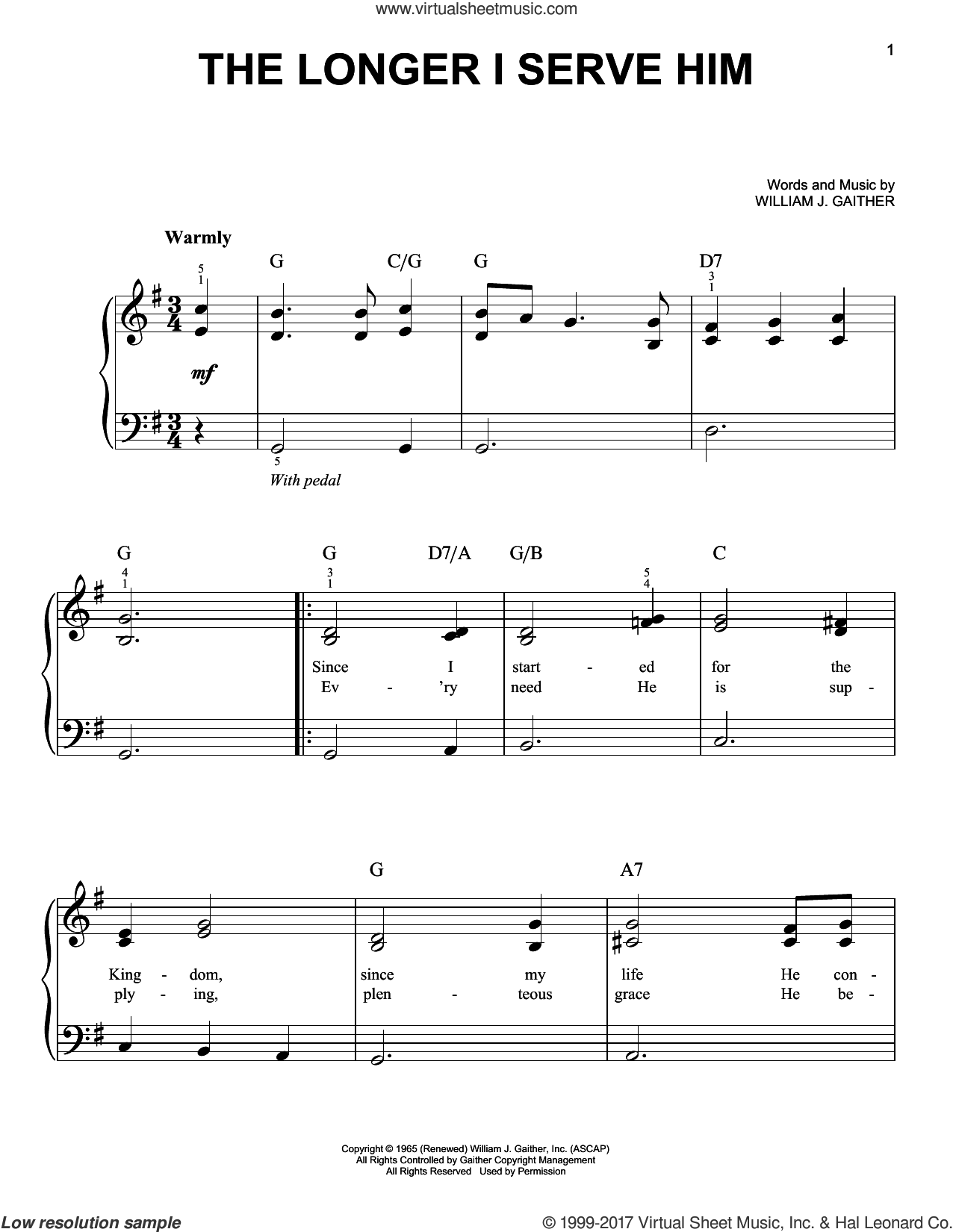The Longer I Serve Him sheet music for piano solo by William J. Gaither, easy. Score Image Preview.
