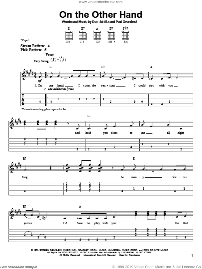 On The Other Hand sheet music for guitar solo (easy tablature) by Paul Overstreet, Randy Travis and Don Schlitz