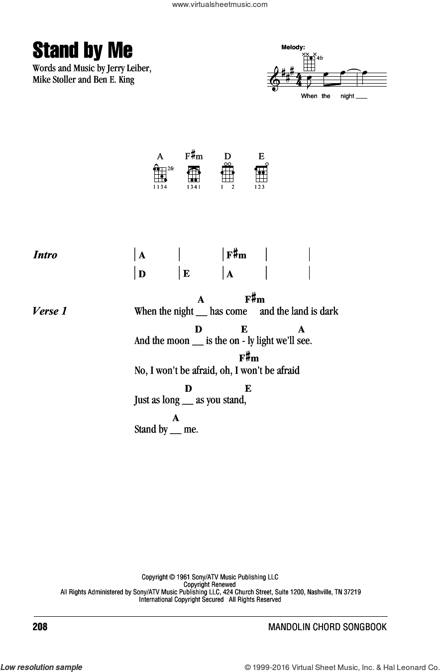 Stand By Me sheet music for mandolin (chords only) by Ben E. King, Mickey Gilley, Jerry Leiber and Mike Stoller, intermediate skill level