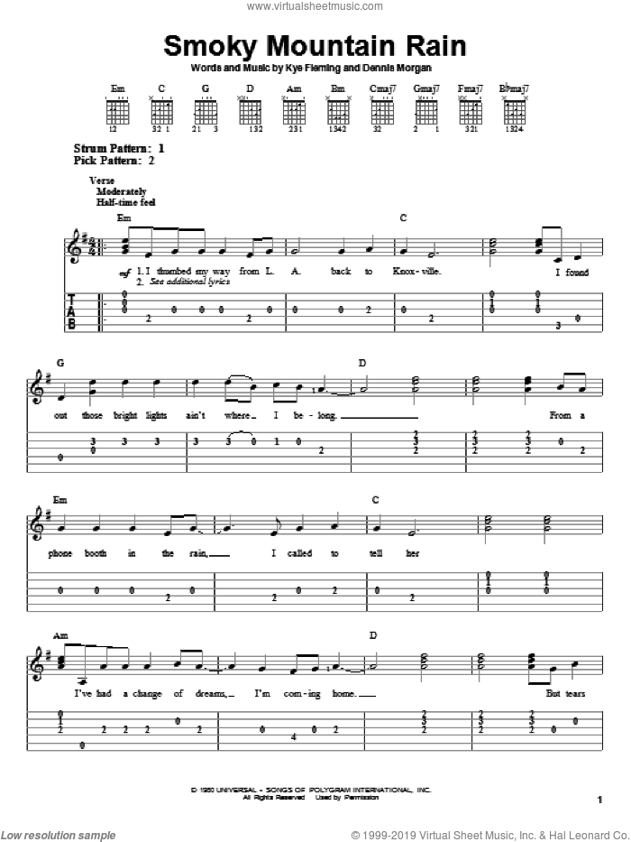 Smoky Mountain Rain sheet music for guitar solo (easy tablature) by Ronnie Milsap and Dennis Morgan. Score Image Preview.