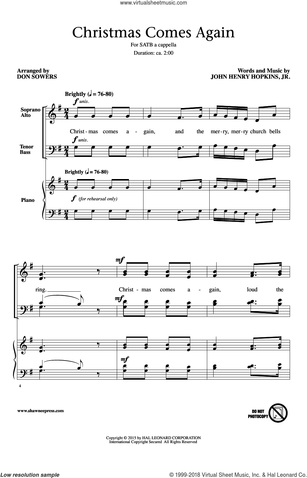 Christmas Comes Again sheet music for choir (SATB) by John H. Hopkins, Jr.. Score Image Preview.