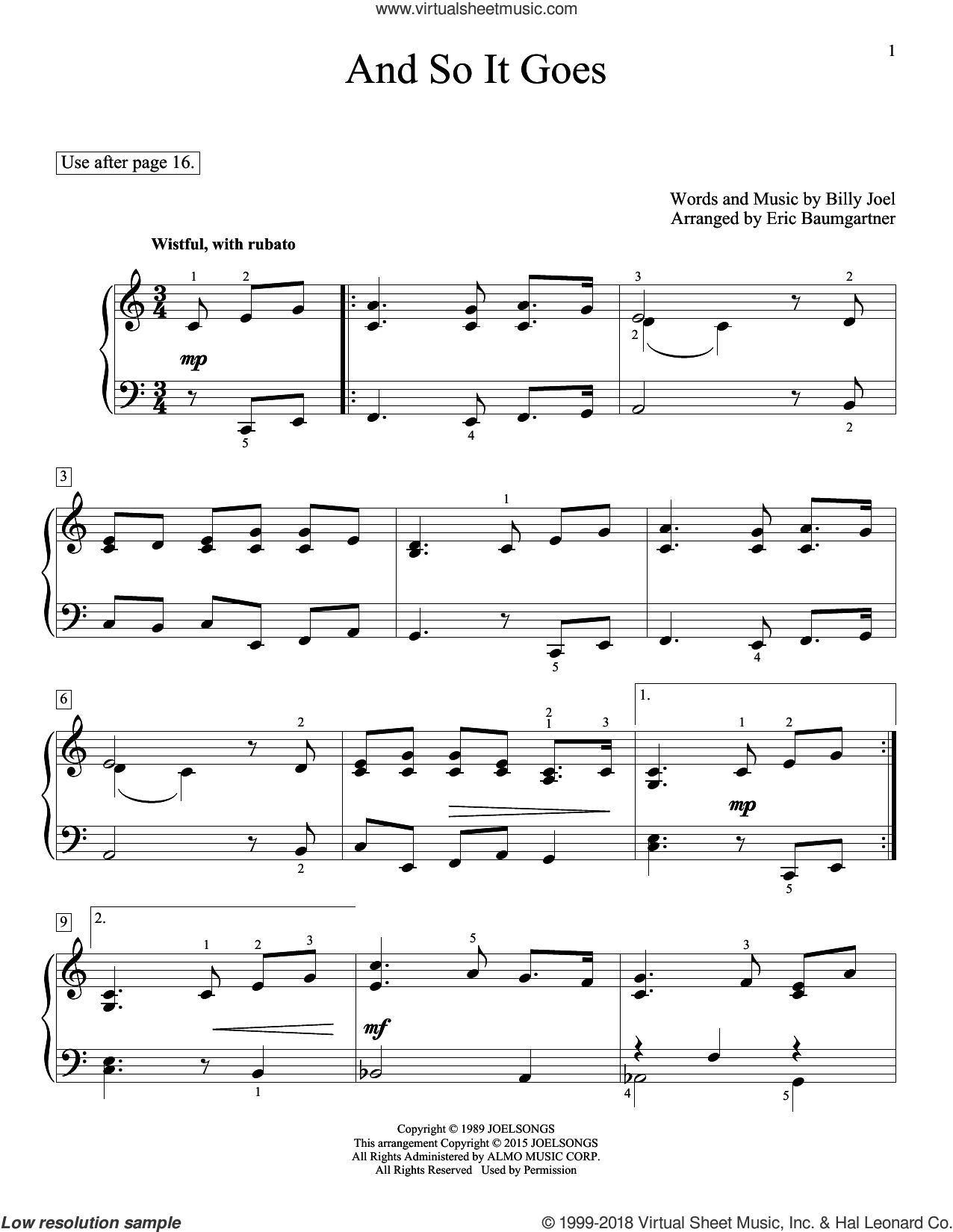 And So It Goes sheet music for piano solo (elementary) by Billy Joel, Eric Baumgartner, Glenda Austin and John Thompson, beginner piano (elementary). Score Image Preview.