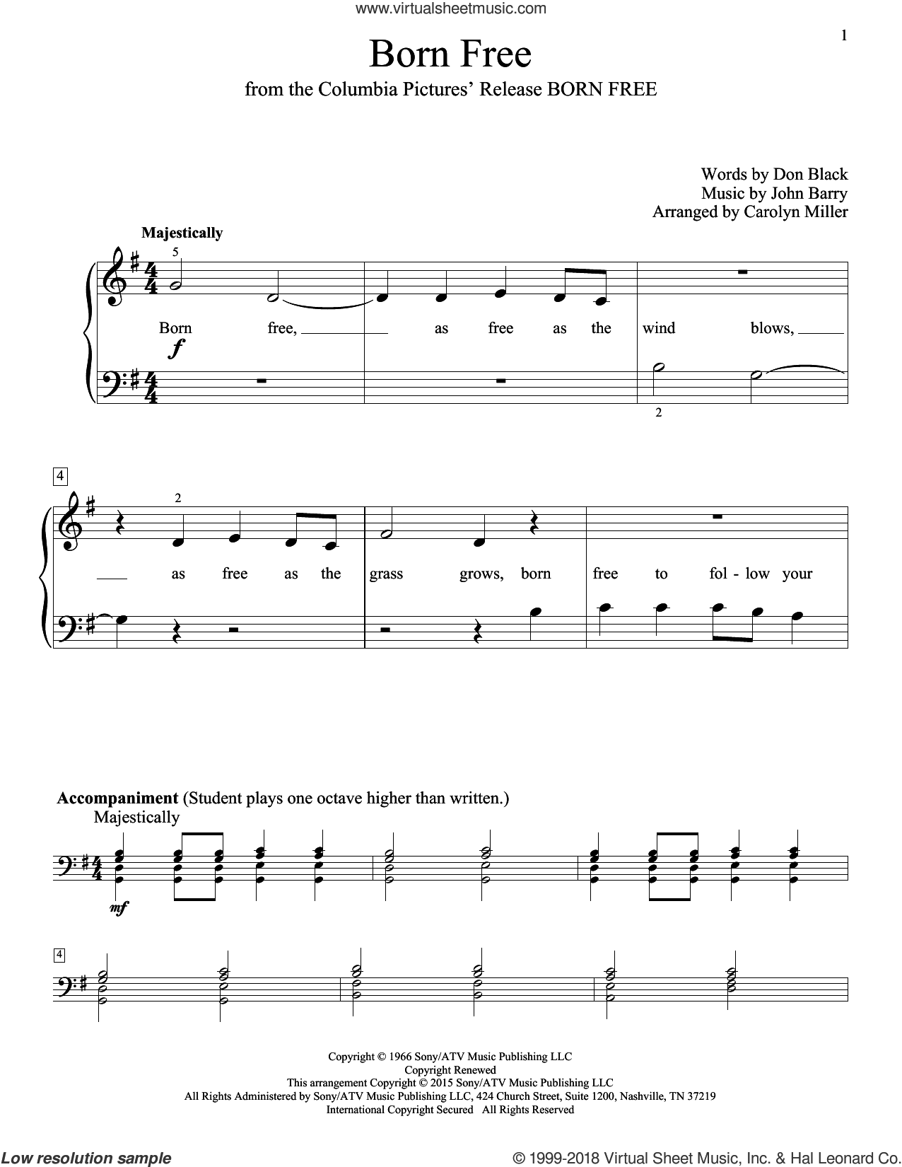 Born Free sheet music for piano solo (elementary) by Don Black, Carolyn Miller, John Thompson, Roger Williams and John Barry, beginner piano (elementary). Score Image Preview.