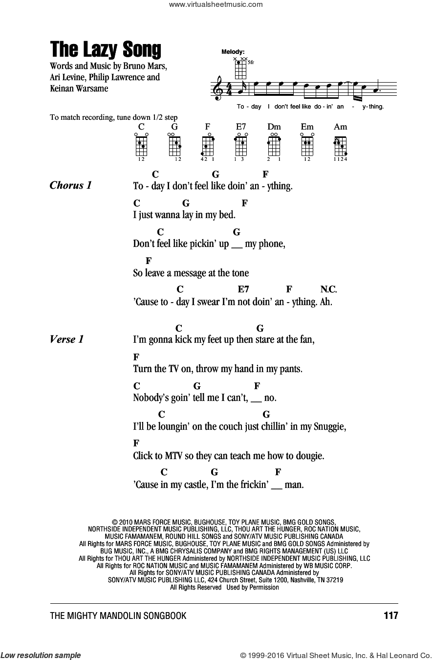 The Lazy Song sheet music for mandolin (chords only) by Bruno Mars, Ari Levine, Keinan Warsame and Philip Lawrence, intermediate mandolin (chords only). Score Image Preview.